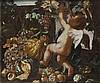 Giovanni Paolo Castelli, detto lo Spadino (Roma 1659 - 1730) Putto alato con uve, zucche e altri frutti, presso un bassorilievo antico en plein air (Allegoria dell'Autunno?)