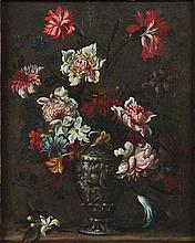 Maniera di Francesco Caldei, detto Francesco Mantovano Garofani, peonie e campanule in un vaso istoriato