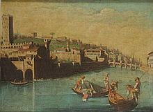 Cerchia di Giuseppe Zocchi (Firenze 1711 - 1767) Firenze: veduta dell'Arno a San Niccolò