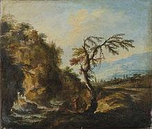 Antonio Maria Marini (Venezia 1668 - 1725) Due paesaggi boschivi con astanti presso un corso d'acqua e borgo turrito in lontananza