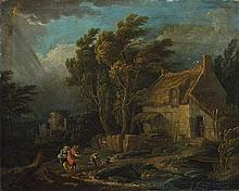 Scuola francese, metà del secolo XVIII Paesaggio con viandanti, caseggiato e temporale imminente
