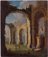 LEONARDO COCCORANTE (NAPOLI 1680-1750) e GIUSEPPE TOMAJOLI (attivo a NAPOLI tra il 1730 e il 1772)  Fabbrica in rovina con scultura di Ercole che uccide il drago