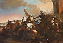 Attribuito a Marzio Masturzo  (attivo a Napoli o a Roma, circa 1670) Scontro di cavalieri