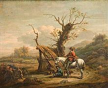 Philip Wouwermann (Haarlem 1619 -1668) Paesaggio con cavaliere in sosta presso un albero