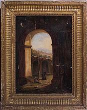 Pittore francese attivo a Roma, primo quarto del secolo XIX Monaci presso rovine antiche