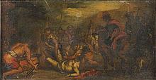 Cerchia di Jacques Cortois, detto il Borgognone  (Saint-Hyppolite 1621 - Roma 1676) Martirio di un Santo (San Lorenzo?)