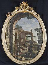 Pietro Paltronieri, detto il Mirandolese delle prospettive (Mirandola 1673 - Bologna 1741) e studio Capriccio architettonico con fontana ed arco in primo piano