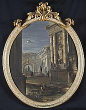 Pietro Paltronieri, detto il Mirandolese delle prospettive (Mirandola 1673 - Bologna 1741) e studio Capriccio architettonico al chiaro di luna con esedra sullo sfondo