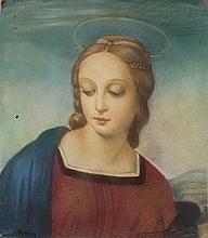 Scuola italiana Fiori in un cesto di vimini; Madonna del Cardellino, da Raffaello; Madonna orante; e Madonna con Bambino