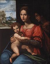 Studio di Domenico di Bartolommeo Ubaldini, detto Domenico Puligo (Firenze 1492 - 1527) Madonna con Bambino e un Angelo