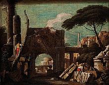 Studio di Marco Ricci  (Belluno 1676 - Venezia 1730)  Capriccio architettonico con figure