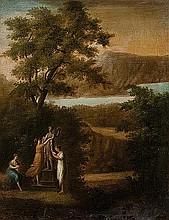 Seguace di Claude Lorrain Paesaggio con figure che adornano una statua