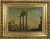 Scuola francese, inizi secolo XIX Veduta del Foro Romano con il Tempio dei Dioscuri, la Chiesa di San Lorenzo in Miranda sulla sinistra e sullo sfondo la chiesa di Santa Francesca Romana
