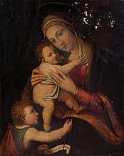 Pittore lombardo del secolo XVI, e restauratore moderno Madonna con Bambino e San Giovannino