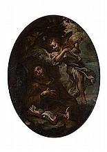 Scuola genovese, prima metà del secolo XVII San Francesco a cui appare un angelo musicante