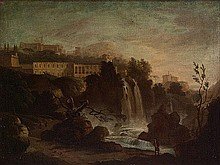 Scuola italiana, secolo XIX Le cascate di Tivoli