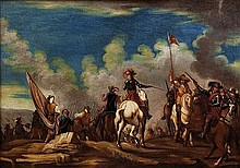 Scuola napoletana, secolo XVII Manovre di cavalieri