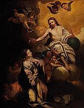 Scuola romana, ultimo quarto del secolo XVII Cristo appare a una santa (Barbara?)