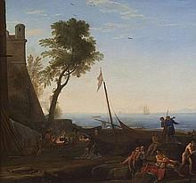 Adrien Manglard (Lyon 1695 - Roma 1760) Paesaggio costiero con imbarcazioni e figure di pescatori