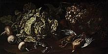 Attribuito a Felice Boselli (Piacenza 1650 - 1732) Una verza, rape, uva in un cesto di vimini, cacciagione di penna e un granchio su un piano
