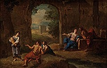 Andrea Locatelli (Roma 1695 - 1741) Studio di figure in un paesaggio