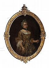 Scuola veneta, secolo XVIII, nei modi di Pietro Longhi Ritratto di dama, in abiti eleganti,  a tre quarti di figura con ventaglio in mano