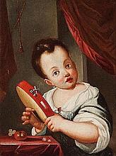 Cerchia di Antonio Amorosi (Comunanza 1660 - Roma 1738) Bambina che suona il tamburello; e Giovane donna con cesto di frutta