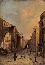 Scuola italiana prima metà del XIX secolo  Milano, le Colonne di San Lorenzo