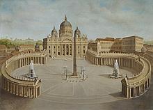 Scuola italiana, secolo XX Veduta di Piazza San Pietro a Roma
