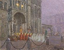 Giovan Battista Crema (Roma 1883 - 1964) L'uscita della processione