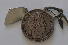 French Coin Pocket Knife. A France 1846-A Replica (?) silver 5 Franc