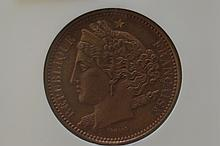France. Essai 1848 10 Centimes, VG-3159 Copper
