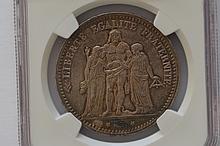 France. 1873-A Silver 5 Francs,