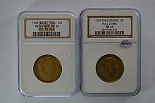 France. A pair of certified Essai 1929 10 Franc pieces
