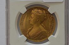 Great Britain. A rare 1727 Queen Caroline Gold Coronation Medal