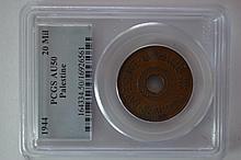 Palestine 1944 20 Mils, PCGS AU50
