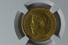 Russia. 1897 Gold 7 1/2 Rouble, NGC XF45