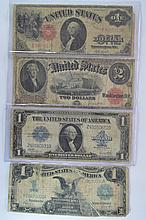 A foursome of all different lower condition large size type notes