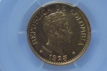 Colombia 1925 MFDFLLIN, 5 Peso Gold.