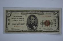 $5.00 Series of 1929 Type I National Bank Note, Fr-1800-1, Charter #12449