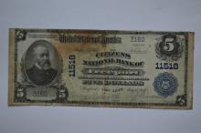 $5.00 Series of 1902 Plain Back National Bank Note, Fr-606, Charter #11518