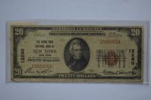 $20.00 Series of 1929 Type I National Bank Note, Fr-1802-1, Charter #12280.