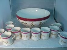 Large Dresden Punch Bowl & Cups Tom & Jerry