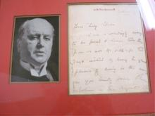 Signed Letter By Author Henry James Framed