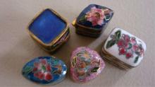 5 Miniature Painted Enamel Pill Boxes