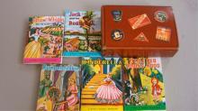 Cardboard Suitcase w 5 Miniature Fairy Tale Books