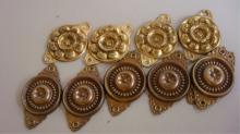 10 Vintage Furniture Metal Medallions 2 Types