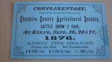 Cheshire County Agricultural Society Pass 1876