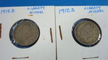2 1912 V Nickels