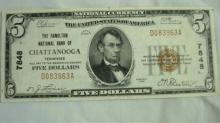 $5 Chattanooga Bank Note Hamilton Nat'l Bank